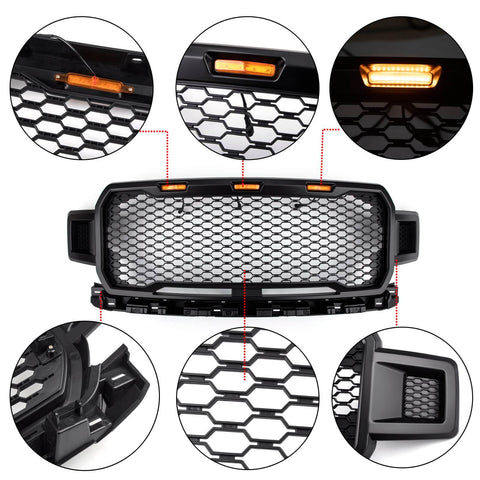 Fornt Upper Grill Amber LED Repalcement ABS Grille For Ford F-150 2018-2020 Black