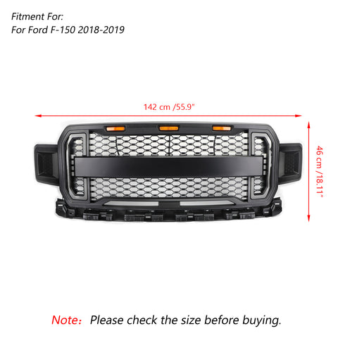 Front Grill Grille With Amber Lights DRL For F150 F-150 2018-2020