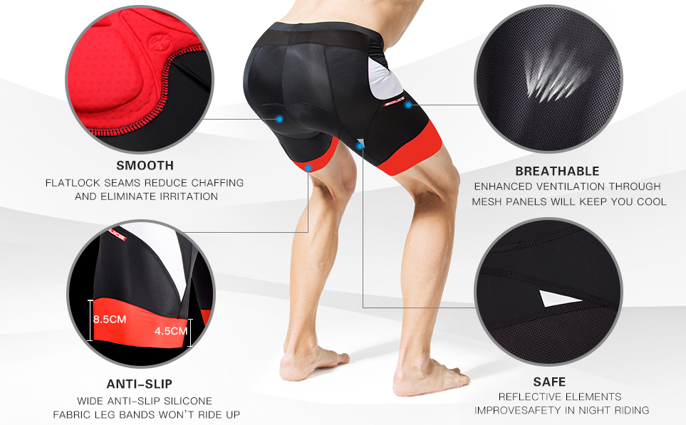 Souke Sports Men's Eco-Daily 4D Padded Bicycle Shorts