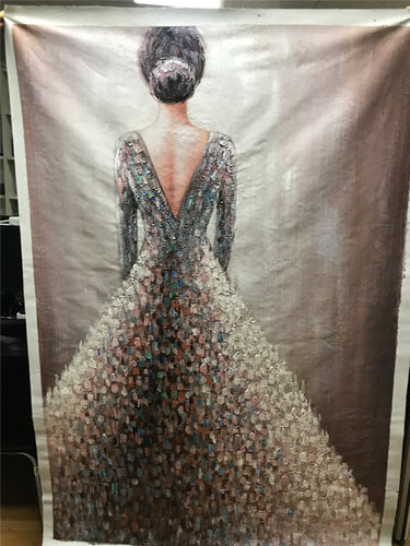 Knife Paintings Slim Lady Dress Elegant Woman Backs