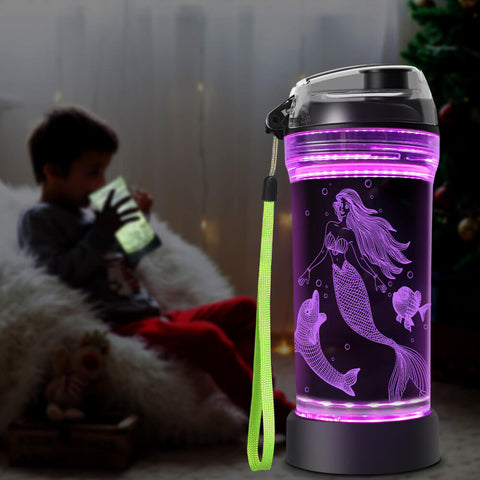 Mermaid 3D Glowing Water Bottle