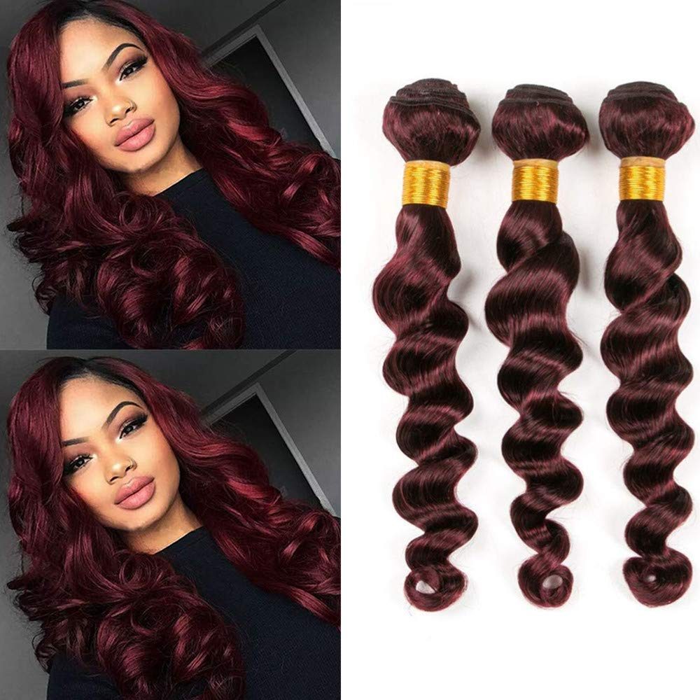 ★Hair Material: 100% Unprocessed Human Hair Bundles, 9A Brazilian Virgin Hair Bundles. ★Hair Quality: Machine Double Hair Weft Human Hair bundles, Tangle Free, No Shedding, Full, Thick, Soft, Bouncy and Shiny with Highest Elasticity. Top Quality Brazilian Hair Bundles. Can be Dyed and Bleached. ★Hair Texture: Loose Wave Bundles.Can be Straightened and Curled Human Hair Weave Bundles.If it is cared for properly, it will last about 6-12 months. ★Color & Weight: 99j# color、burgundy bundles. 95-100g/Bundle.3 Bundles Body Wave Hair in Total. ★Various size options: 8-26inch. The most commonly used sizes give you the most perfect experience