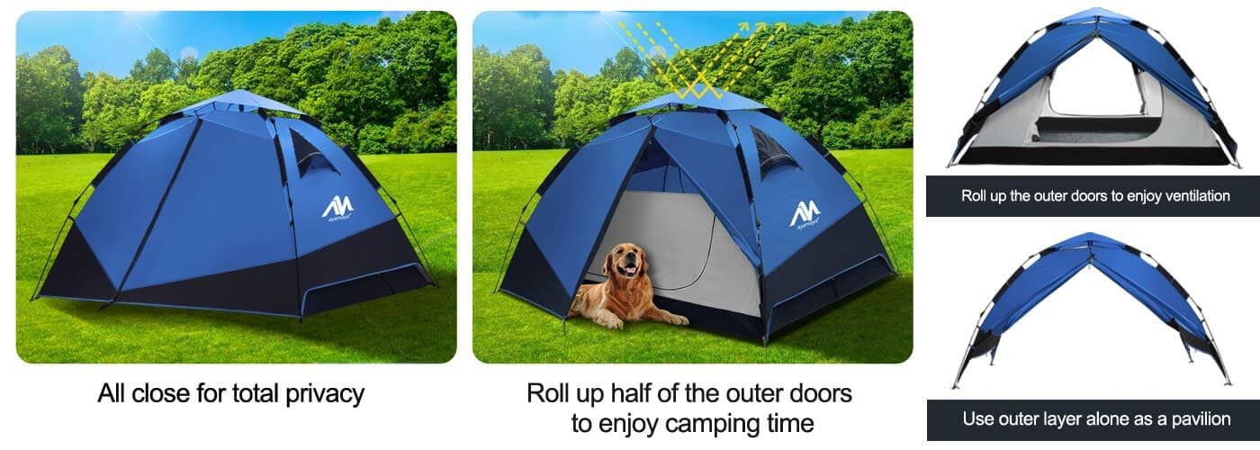 Instant Setup Camping Tent for 3-4 Person - double layers and 3 usages