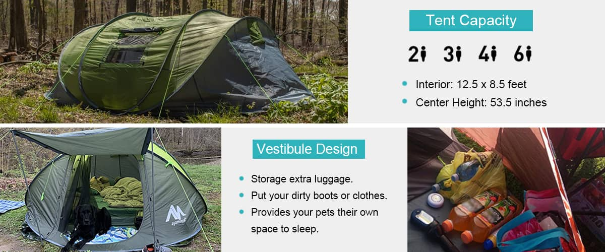 Camping tents essentially have foyers or separate rooms that you can make full use of.