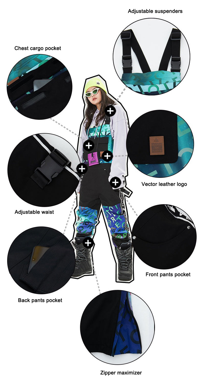 Vector Glittery Star Insulated Overalls Bib Snow Pants