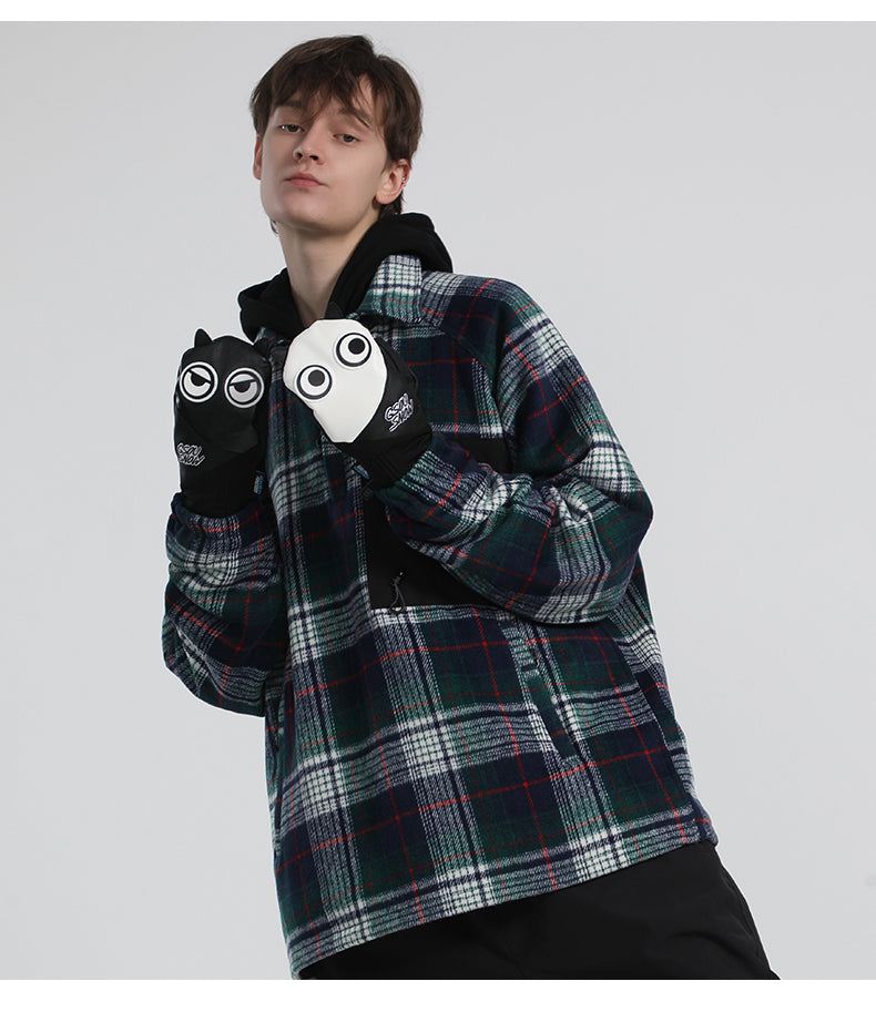 Men's Gsou Snow Full Leather Snow Mascot Snowboard Gloves Winter Mittens