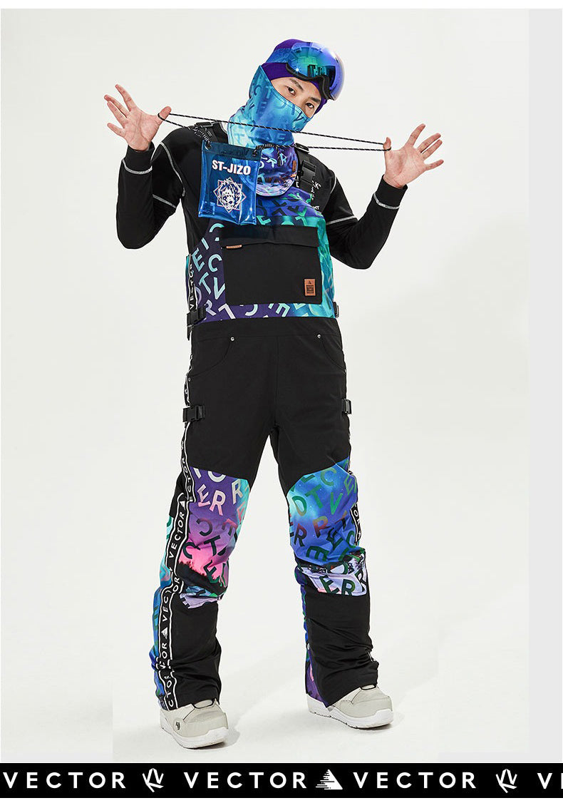 Vector Unisex Glittery Star Insulated Overalls Bib Snow Pants