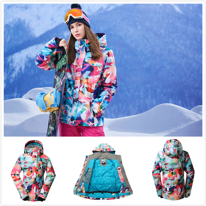 Women's Gsou Snow 10k California Camo Pink Mountains Stylish Snowboard Suits