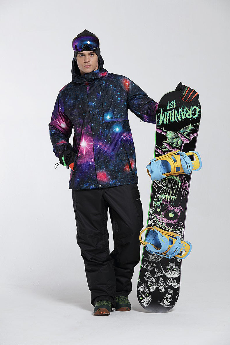 🏔 MT. BACHELOR MENS SKY STARS WOLF 10K SNOW JACKET - SNOW JACKET FOR MEN. Stay focused on the slopes as someone always watches you on your back.  🏂 FEATURES INCLUDE:  Waterproofing: 10K Waterproof / 10K Breathable Fabric: Polyester Fit: Regular Insulation: Advanced Skin Warm Insulated[Fill weight: 140g body, 120g sleeves, 60g hood] Seams: Critically taped seams Hood: 3-way adjustable and removable hood Skirt: Stretch powder skirt Attachment system: Jacket-to-pant attachment system Pockets: Internal media and goggle pockets, Two water repellent hand zip pockets, Sleeve pass pocket Vents: Mesh lined underarm vents Cuffs: Internal Lycra® wrist gaiter Others: Chin guard, Key clip, Hem adjustment ❄️ DESIGNED FOR: Snowsports, Backcountry   Face Fabric & Lining Material 100% Polyester Membrane 10K Waterproof / 10K Breathable - This technology provides the wearer with solid levels of waterproofing, breathability and comfort. Using high quality technology to keep you dry, warm, and comfortable. Pockets YKK® Zipper 2 Front Pant Pockets 2 Back Pant Pockets 2 Thigh Pockets Vents Mesh Lined Inner Thigh Vents Additional Features Belt Loops Fully Taped Seams Inner Adjustable Waist Tabs Anti-Scuff Cuffs Snow Out Boot Gaiters Designed For Snowsports(Skiing/Snowboarding/Ice-Skating/Ice-Climbing) Backcountry(Climbing/Hiking/Camping/Trekking), Any Other Outdoors Men's Gsou Snow 10k Mountains Wolf 3D Printed Snowboard SuitsMen's Gsou Snow 10k Mountains Wolf 3D Printed Snowboard Suits
