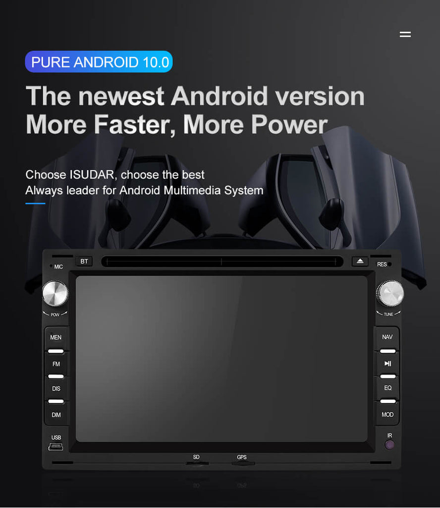 ISUDAR 2 Din Auto Radio Android 10 Octa core For VW T5