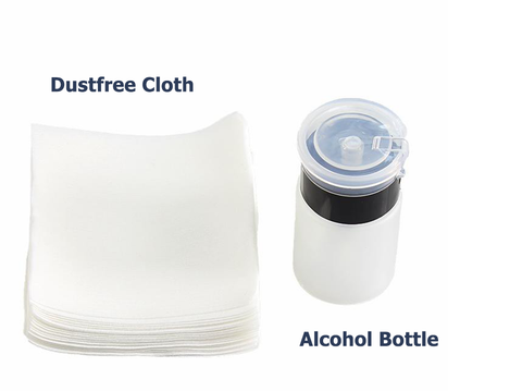 Dustfree Paper and Alcohol Bottle