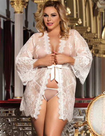 Plus Size Sheer Soft Lace Sexy Robe