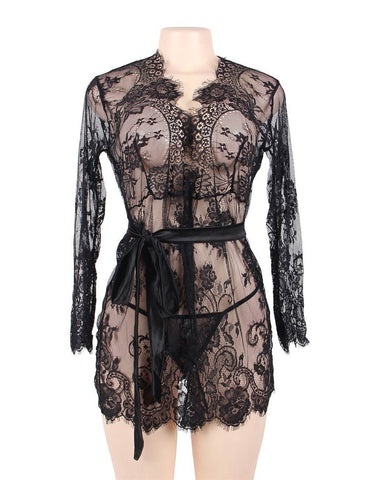 Plus Size Black Lace Sexy Robe Long Sleeves Lingerie Set
