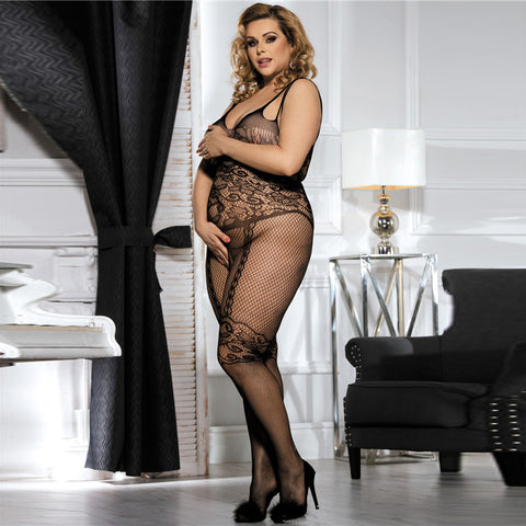 Plus Size Butterfly Pattern Halter Sexy Bodystocking