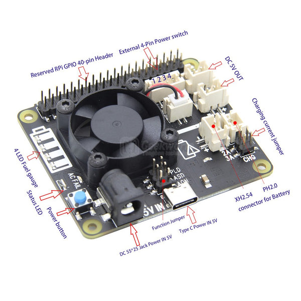 Raspberry Pi 4B/3B+/3B X708 UPS HAT & Power Management Board with Cooling Fan