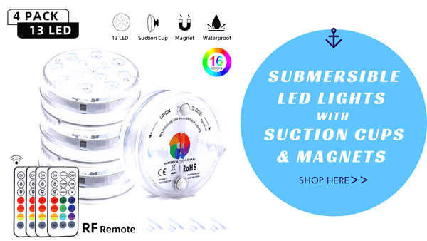 Submersible pool lights with suctiono cups & magnets