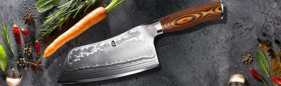 Tuo Cutlery, Cleaver Knife, Chopper, Chopping Knife, Professional Kitchen Knife, Vegetable and Butcher Knife, Chinese Chef's Knife, Meat Knife, Premium High Carbon Stainless Steel, Full Tang