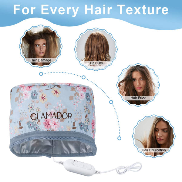 GLAMADOR 110V Hair Care Cap, Thermal Cap for Home Nourishing Hair Spa Hair Care w/ 2 Level Temperature Control