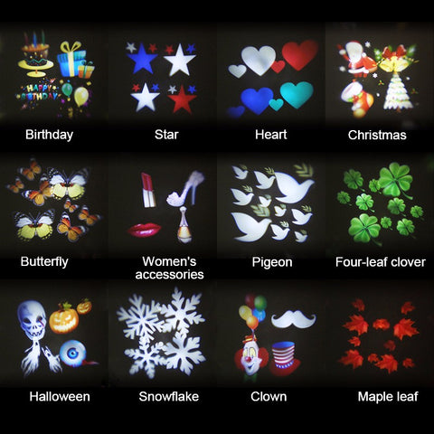 12 Pattern Waterproof LED Moving Projector Stage Light for Christmas Halloween Laser Lamp, US Plug