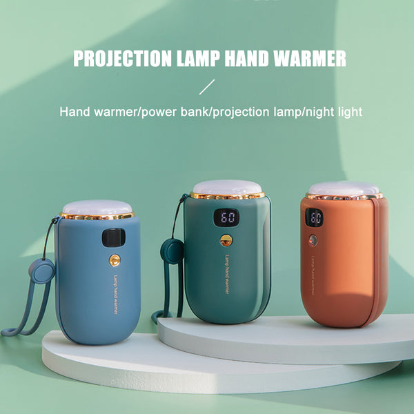 6000mAh Power Bank w/ Rechargeable Projection/Hand Warmer Function, Multifunction 4-In-1 Mobile Power Supply