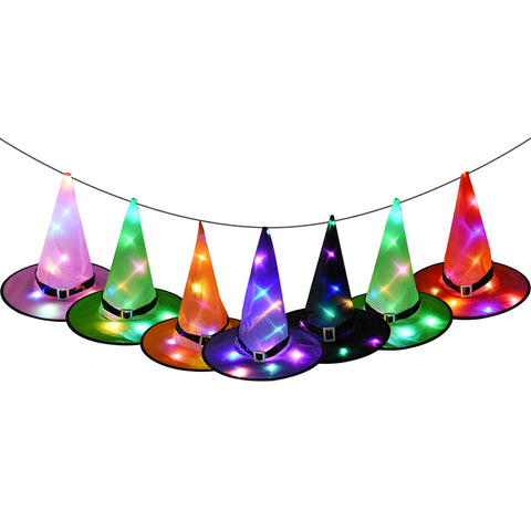 Halloween Decor Witch Hats LED Lights Party Cap Costume Props Outdoor Hanging Decor