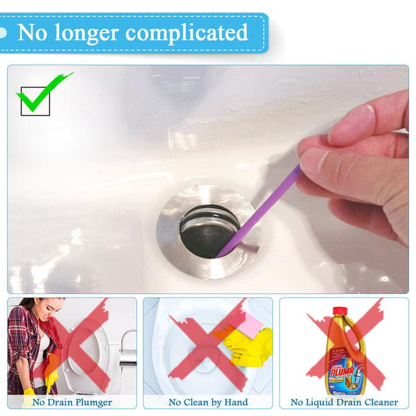 Drain Cleaner Sticks Deodorizer Enzymatic for Kitchen Sink Bathroom Toilet Sewer 100% Natural Degradation