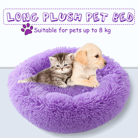 Winter Warm Round Pet Bed Dog Cat Bed Long Plush Super Soft  Kennel Dog Cat Comfortable Sleeping Cushion