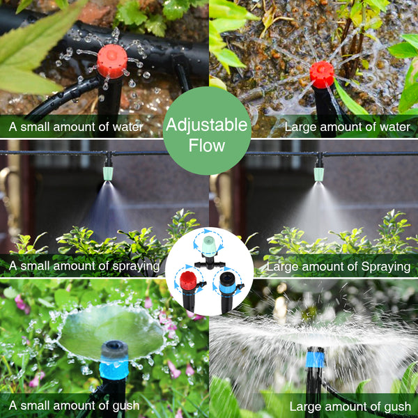 82Ft/25M Drip Garden Watering Irrigation Kits w/ Y Valve/Misting Nozzles/Drip Emitters/Dripper for Greenhouse, Garden