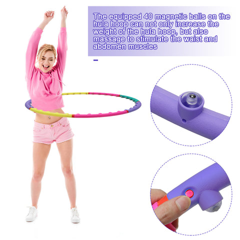 Hoola Hoop 8 Section Adjustable Design w/ Air Cushions Built-in Magnetic Balls, Fitness Exercise Circles