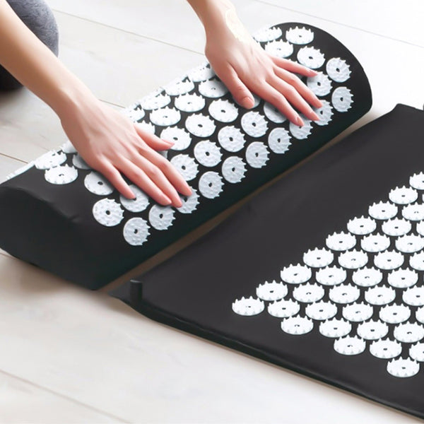 Massage Cushion Yoga Mat Massager Acupressure Relieve Stress Back Body Pain Mat w/ Pillow Acupuncture Mat