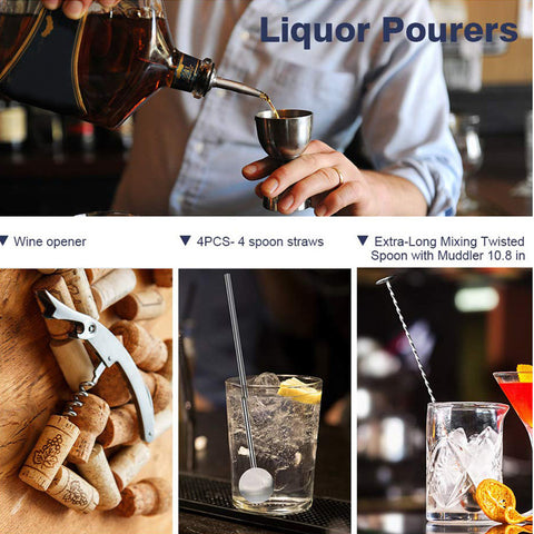 11PCS 450mL Cocktail Shaker Maker Mixer Barware Martini Spirits Bar Strainer Bartender & Stand