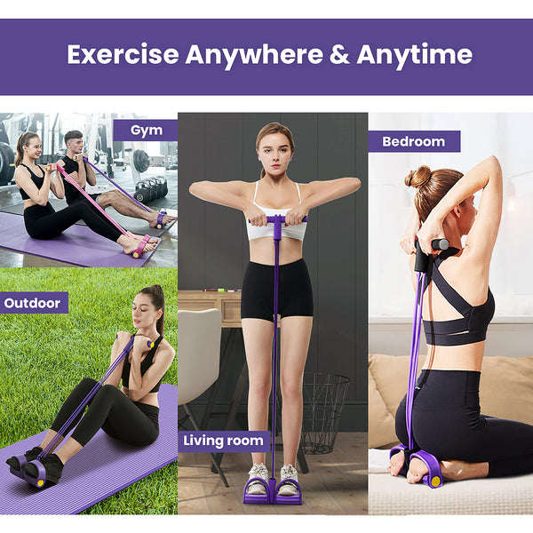 Resistance Natural Latex Elastic Pull Rope Workout Exercise Foot Pedal 4 Tube Stretch Bands