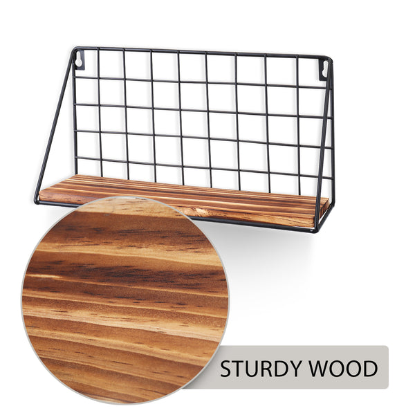 2PCS Wall Mounted Wooden Floating Shelves, Small & Large Set, Simple Style Rack for Home Decor/Storage