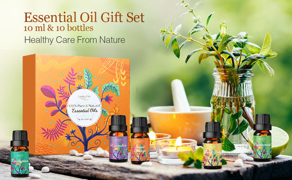 Luckyfine Upgraded Essential Oils Gift Box, 100% Pure, Help Sleep, Calm Mood, for  Diffuser/Aromatherapy