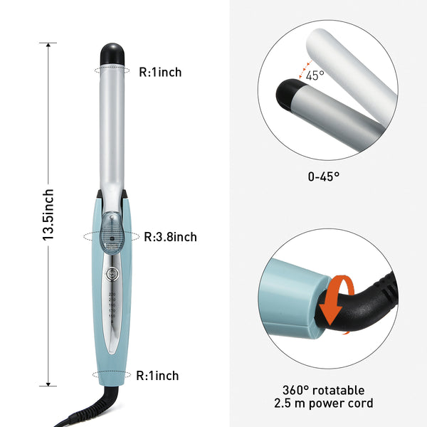 Luckyfine Professional Steam Hair Curling Iron Hair Curler, Adjustable Temperature for Wet/Dry Hair