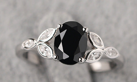 black stone ring | Luo Jewelry