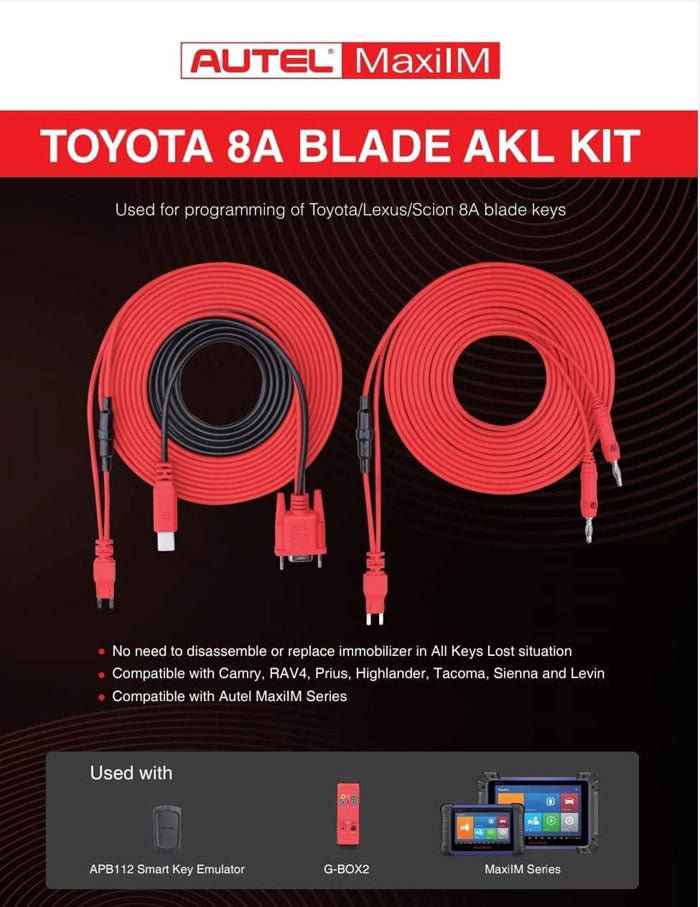 Autel Toyota 8A Non-Smart Key All Keys Lost Adapter Work With G-Box2 and APB112 Simulator