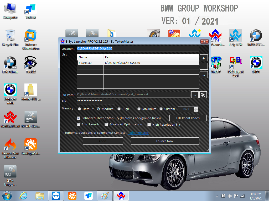 ICOM Software for BMW Diagnostic & Programming V2021.01 ISTA D/P Software Win7 64bit HDD/SSD