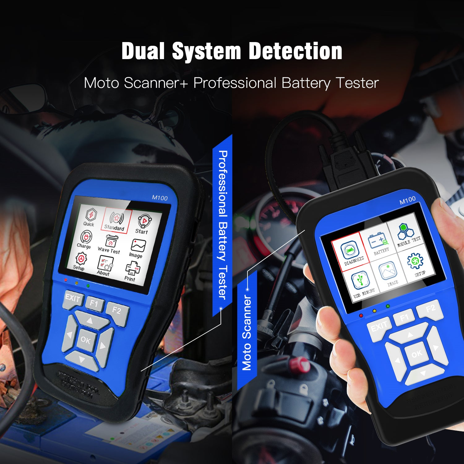 M100 Motorcycle Diagnostic Tool for Kawasaki Yamaha Suzuki Moto Scanner with Battery Tester 2 in 1 Dual System Detection