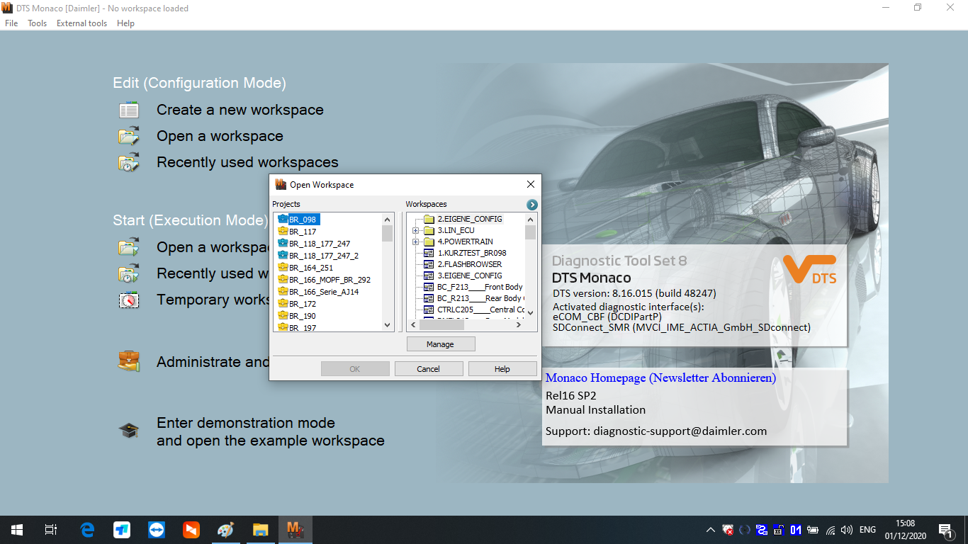 MB Star Diagnostic Xentry Software V2020.12 Version Win10 64bit System Installed HDD/SSD for Mercedes