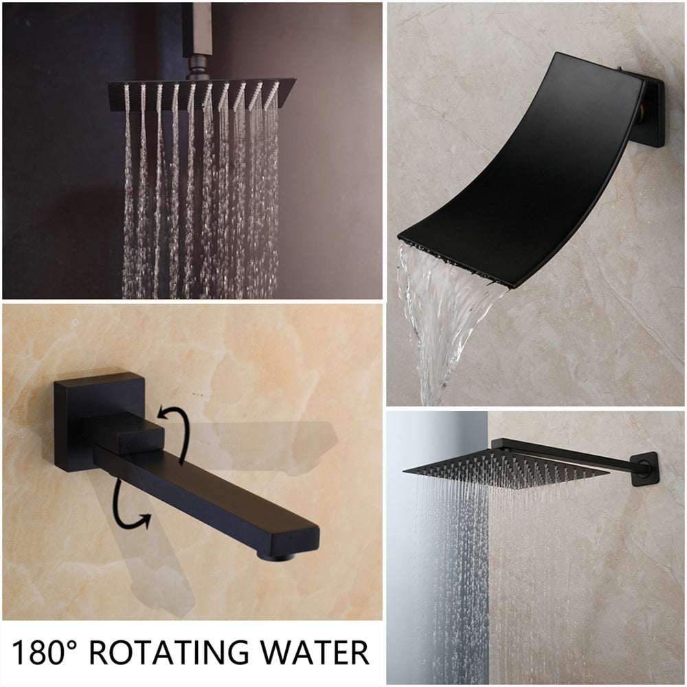Tub Led Bathtub Rain Square Shower Head