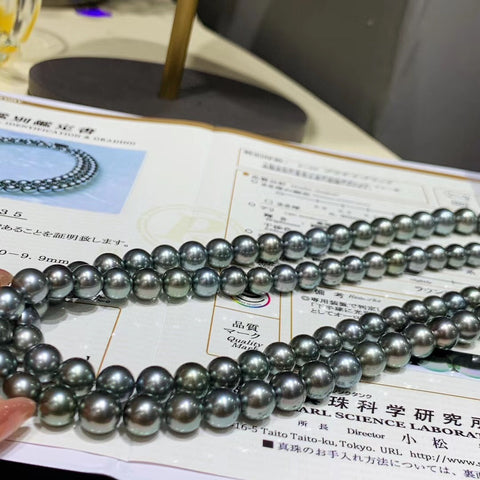 tahitian gray pearl necklace with P.S.L certificate
