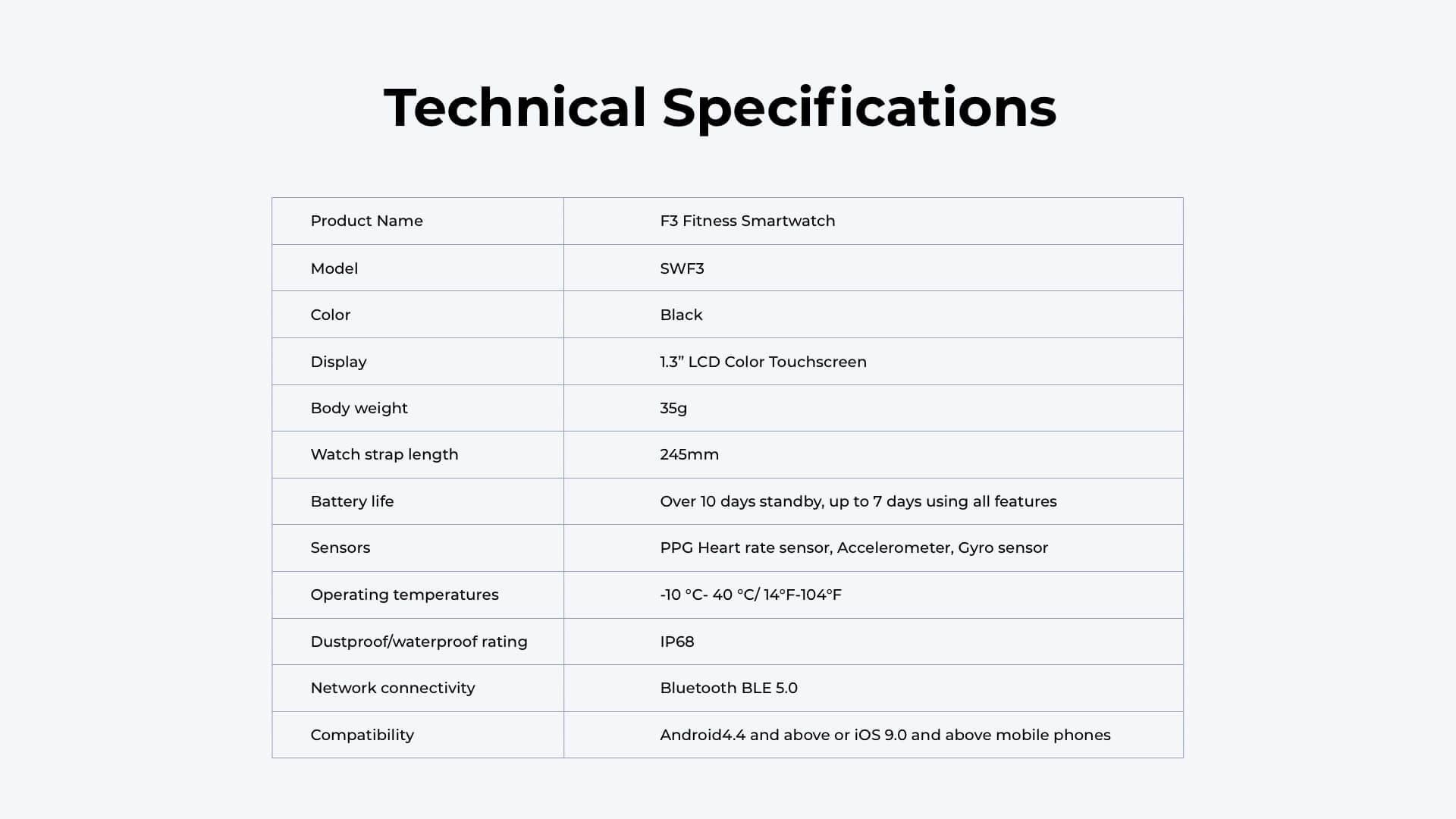 Runtopia F3 Fitness Smartwatch Technical Specifications
