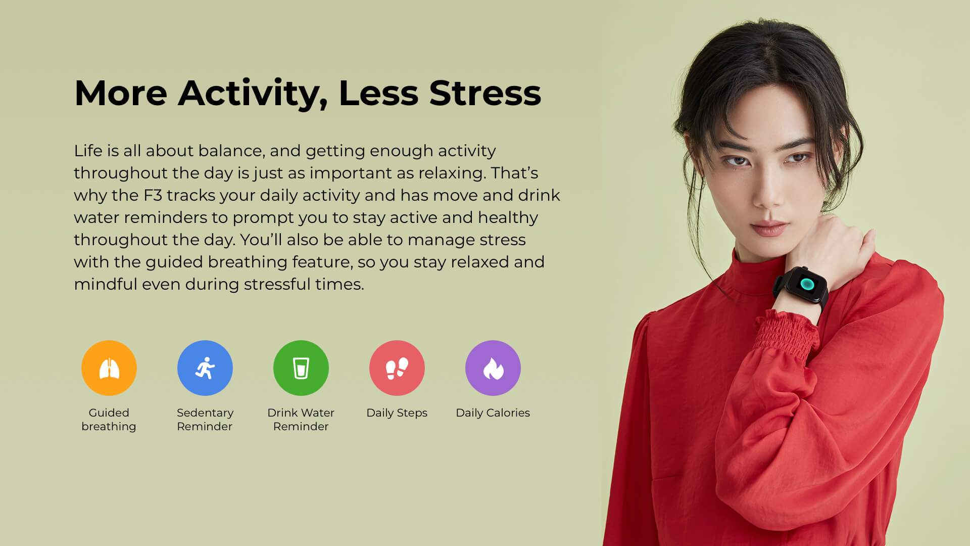 Runtopia F3 Fitness Smartwatch Stress management, guided breathing, sedentary reminder, healthy habits