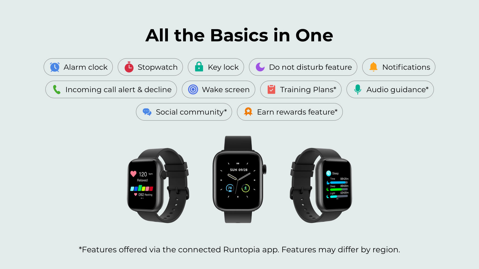 Runtopia F3 Fitness Smartwatch other essential tools and features