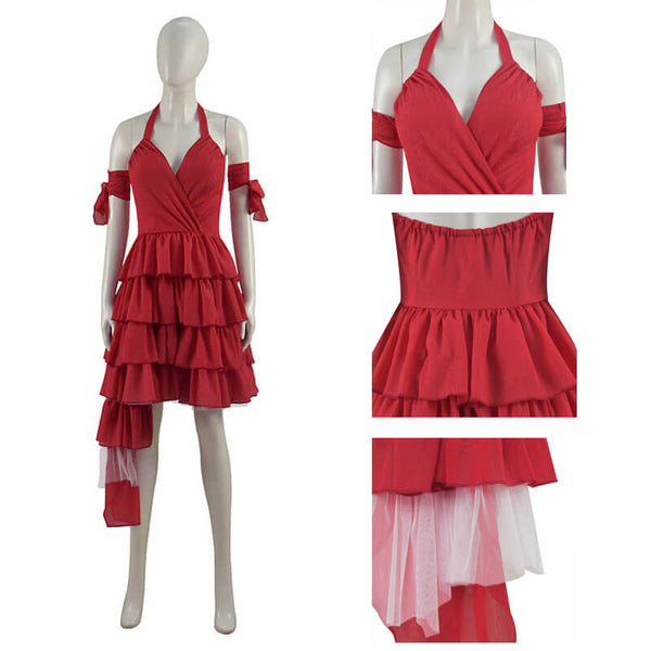 Suicide Squad 2021 Movie Harley Quinn Cosplay Costume Red Dress