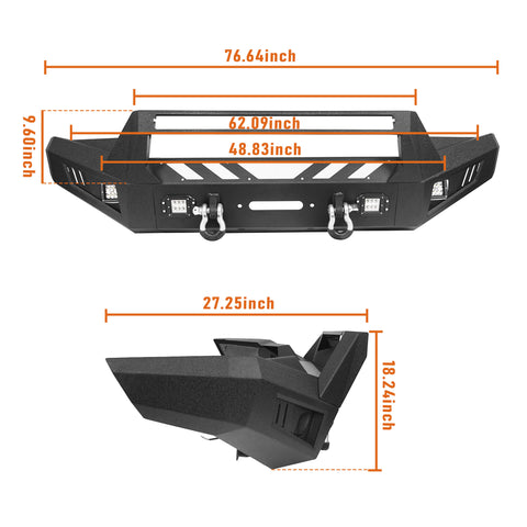 Toyota Tacoma Front Bumper and Rear Bumpers Combo for 2016-2020 Toyota Tacoma 3rd Gen u-Box Offroad BXG42014200