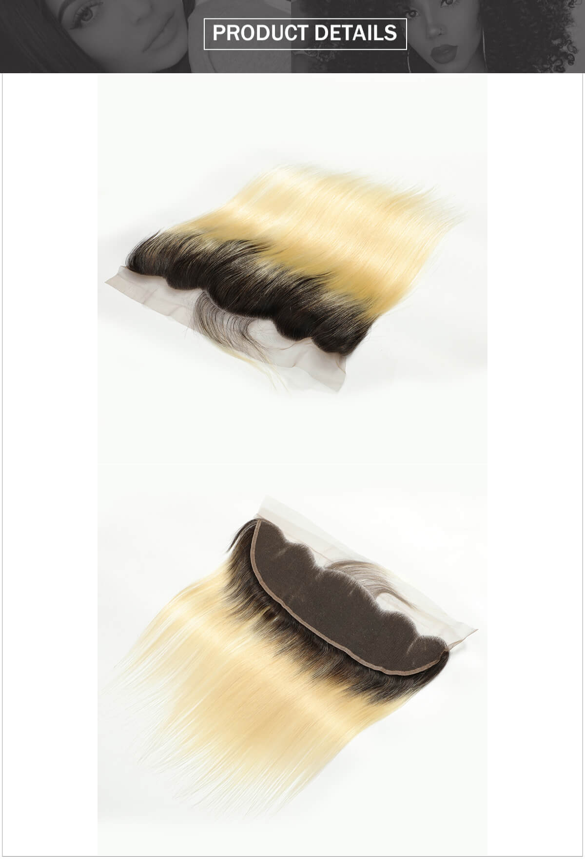 ombre 1b/613 blonde straight hair lace frontal