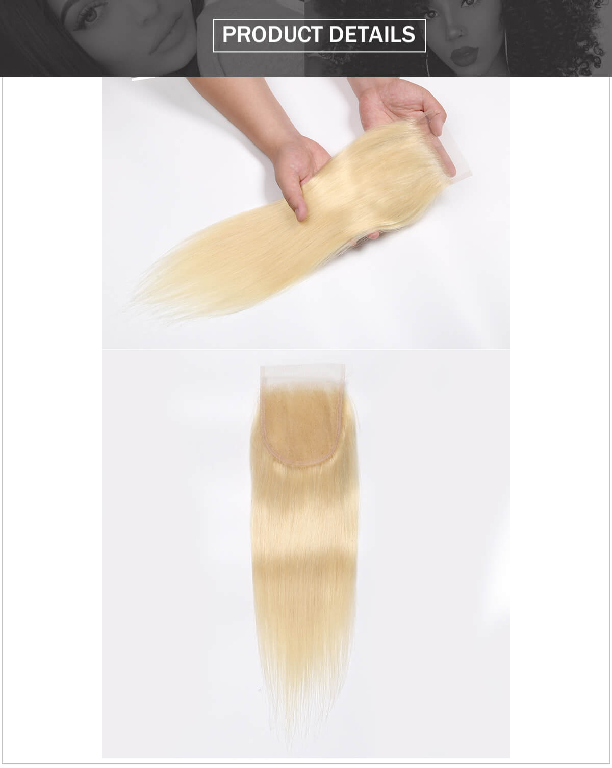 #613 blonde hair straight hair lace closure