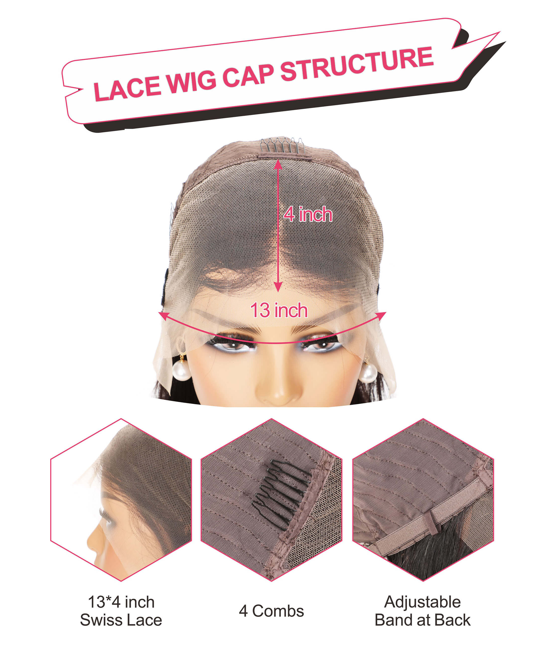 Black Show Hair transparent lace cap